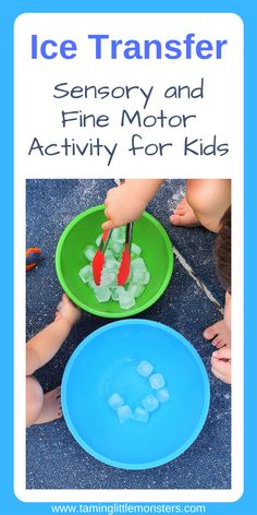 Strengthen fine motor skills with this easy summer sensory bin. A fun no-prep activity for babies, toddlers and preschoolers who want to cool down these holidays. ideas summer for kids Fine Motor Ice Transfer Activity for Kids Toddler Fine Motor Activities, Sensory Activities Toddlers, Motor Skills Activities, Montessori Activities, Infant Activities, Sensory Play, Educational Activities, Fine Motor Activity, Holiday Fine Motor Activities