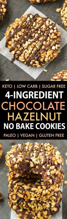 4-Ingredient No Bake Ferrero Rocher Cookies (Paleo, Vegan, Keto, Sugar Free, Gluten Free)-An easy recipe for chocolate hazelnut no bake cookies using just 4 ingredients! Easy, delicious low carb cookies which take less than 5 minutes to whip up- The perfect snack or holiday gift. #keto #ketodessert #nobake #cookies #ferrerorocher   Recipe on thebigmansworld.com