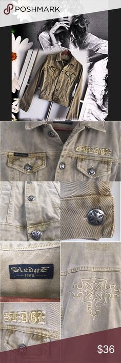 """Sledge Denim Jacket Cute fitted jacket.. size L but fits more like a med.. measured flat: length:20.5"""" sleeve:25.5"""" bottom opening 16 1/4"""" Pit to Pit:19"""" shoulder to shoulder :16"""" 100%cotton... fun dipped dye color.. no trades no pay pal Sledge Jackets & Coats Jean Jackets"""