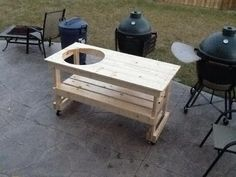 Custom Green Egg Corner Table Grilling And Barbecue