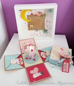 Geschenkeset Geburt Baby girl Mädchen stampin up Explosionsbox gift Bilderrahmen frame