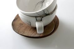 Tree Cup Set of 2 - Love Milo 2 porcelain tea cups + 2 hand carved wooden saucers cups are dishwasher & microwave safe wood can be treated with olive oil Cappuccino Cups, Espresso Cups, Tea Cup Saucer, Tea Cups, Love Milo, Tree Designs, Cupping Set, Cool Kitchens, White Ceramics