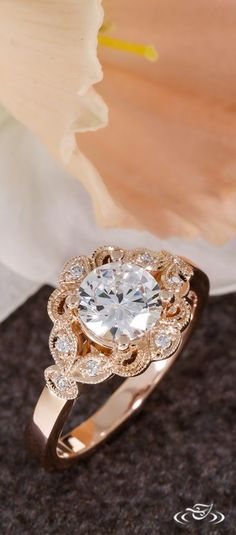 Rose Gold Engagement Ring with Delicate Milgrain & Diamond Leaf Halo. Green Lake Jewelry 103486