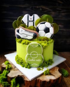 Bithday Cake, Baby Birthday Cakes, Cake Decorating Techniques, Cake Decorating Tips, Sports Themed Cakes, Soccer Cake, Sport Cakes, Just Cakes, Sugar Craft