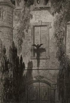 """Something at My Window Lattice"", illustration  by Paul Gustave Doré for Edgar Allan Poe's ""The Raven"""