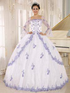 Lilac Embroidery Decorated White Organza Square Neckline Quinceanera Dress