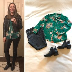 For a gathering with the wives of my husband's co-workers: Cropped faux leather jacket, silk foral button down, faux leather leggings, black booties