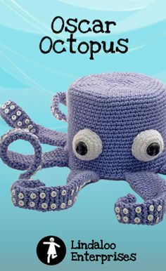 """""""Oscar Octopus"""" Crocheted Toilet Paper Cover ♦ Pattern in """"Amigurumi Toilet Paper Covers: Cute Crocheted Animals, Flowers, Food, Holiday Decor and More"""" by Linda Wright. http://amazon.com/dp/0980092361/"""