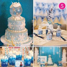 Frozen Birthday Party ideas like a snow globe topped birthday cake!