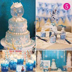 Frozen Birthday Party ideas like a snow globe topped birthday cake!