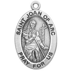 """Amazon.com: Catholic Necklace, Sterling Silver Oval Medal Necklace Patron Saint St. Joan of Arc with 18"""" Chain in Gift Box: Jewelry"""