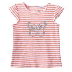 Toddler Girl Jumping Beans® Striped Flutter Sleeve Glitter Graphic Tee, Size: 5T, Lt Orange