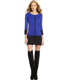 11/2/14  Brand/Designer: Thml Material: Knit Dress Silhouette: Sweater Dress Shoulder: 3/4 Sleeves Neckline: Crew Neck Embellishments: Colorblocking Pullover Hand Wash Available Colors: Cobalt