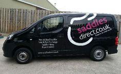 Van graphics for Saddles Direct Shop Signage, Window Graphics, Shop Fronts, Car Shop, Saddles, Van, Roping Saddles, Wade Saddles, Vans