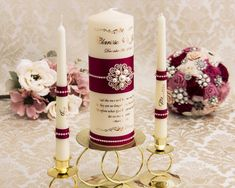 Personalized Wedding Unity Candle Set in Burgundy and Rose Gold, Rose Gold Wedding Candles Wedding Unity Candles, Gold Candles, Pillar Candles, Gold Wedding, Wedding Gifts, Candle Reading, Candle Art, Jewel Colors, Rose Gold Foil