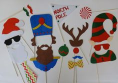 Xmas Photo Booth Props Reindeer Nose Santa Brigade Elf and Cute Clothes Santa with Nut Crackersphoto Booth Props Mustache on a Stick Santa Is Coming to Town Ho Ho Mustache Bash Too Cute ..Christmas Photo Booth too cute