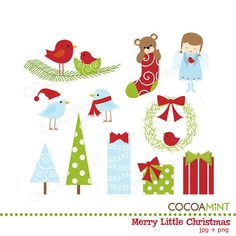 Merry Little Christmas Clip Art by cocoamint on Etsy, $5.00