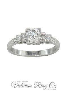 The round diamond of your choice is held in a square central setting, This unique design in platinum creates an appealing ring.Art Deco style motifs are designed into the central diamond setting and can be seen from the side view. The motifs allow you to view the side of the diamond.Each side of the band has three diamond steps leading to a comfortable D-shape band. #artdecorings #artdecoengagementrings #diamondrings #engagementringslondon #platinumrings Unusual Rings, Unusual Art, Art Deco Ring, Art Deco Jewelry, Round Diamond Ring, Round Diamonds, Country Rings, Jewelry Insurance, Diamond Settings
