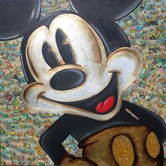 Mickey Mouse pop portrait . Mixed media on canvas 120x120 cm
