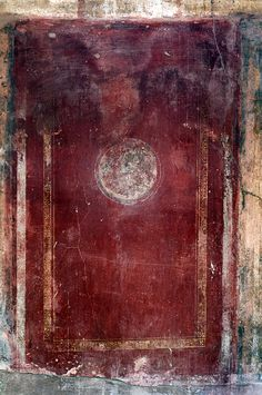 Pompeii frescoe recovered during excavations. Beautiful red