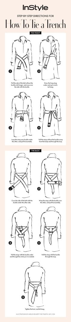 Follow our step-by-step guide for how to tie your trench coat two ways.