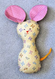 Pretty Plushie Pretty Mousie Toy; Plush Animal; Stuffed Mouse; Yellow Mouse; Adorable Stuffed Mouse; Giant-Eared Mouse by OBeginsOwl on Etsy