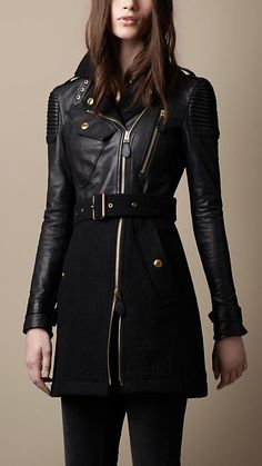 Leather and wool Burberry trench