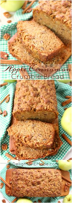 The ultimate apple quick bread recipe! Cinnamon, pecans, and lots of fresh apples are baked together making a fantastic treat with your morning coffee or a delicious afternoon snack. An amazing apple recipe perfect for fall baking! Recipes With Yeast, Quick Bread Recipes, Apple Recipes, Fall Recipes, Baking Recipes, Snack Recipes, Dessert Recipes, Apple Desserts, Sweet Desserts