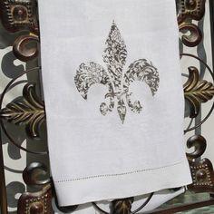 Fleur De Lis Kitchen Towel French Decor Tea Towel Vintage Linen on Etsy, $14.00