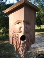 Hand Carved Cedar Birdhouse. WOOD SPIRIT. Hdown