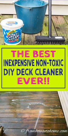 Love this DIY deck cleaner recipe! It is so easy to make and it uses oxygen bleach so it is non-toxic and won't harm the plants around your deck. It is also great for cleaning siding and outdoor furniture Deep Cleaning Tips, Cleaning Solutions, Cleaning Hacks, Cleaning Supplies, Cleaning Products, Cleaning Recipes, Porches, Clean Siding, Deck Brush