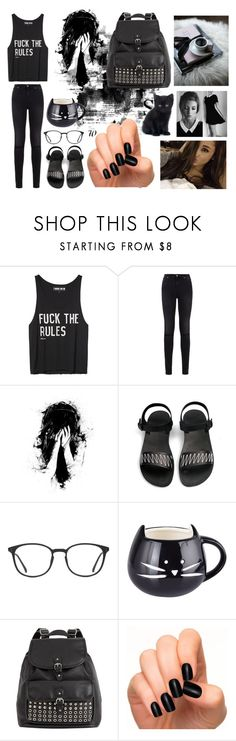 """ dark outfit #18 "" by huiqic ❤ liked on Polyvore featuring Off-White, 7 For All Mankind, GlassesUSA, black and blackoutfit"