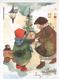 kızak. çocuk. kartpostal koleksiyonu. hayal. (Minna Immonen | Art)