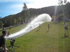 Slip & Slide in Vail Colorado this is a yearly tradition. have to go! Summer 2014, Summer Time, Homemade Slip And Slide, Slip N Slide, Vail Colorado, Yearly, Fire Department, Niagara Falls, Waterfall
