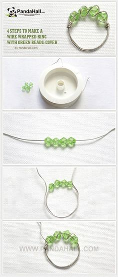 """4 Steps to Make a Wire Wrapped Ring with Green Beads (tutorial with pictures)"" Ring or bracelet either way."
