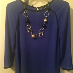 3/4 Sleeve Royal Blue Blouse ✔️Royal Blue✔️light and airy✔️perfect for Spring✔️goes great under a blazer/cardigan or alone✔️smoke free home✔️no visible flaws Mossimo Supply Co Tops Blouses