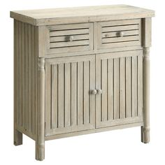 Slatted storage cabinet with two drawers.Product: Cabinet   Construction Material:  Wood  Color: White...