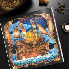 Book: #zemljasnova (Land of Dreams) by #tomislavtomic  Done for the Water World FB group event Mixed media: #mondeluz72 #kohinoorhardtmuth #stabilo #acylics #gelpen #coloringbooks #adultcolouring #blackaneri