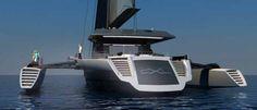 Ultra Luxum CXL, Un trimarán de 48 metros de eslora con un casco abatible cuando está atracado y un sistema de motores híbridos.