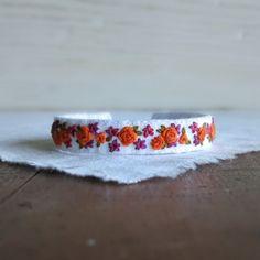 Verano tela Floral brazalete pulsera naranja y frambuesa