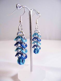 Blue Chain Mail Earrings by Safrolistics on Etsy, £8.00