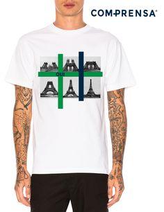 "White cotton T-shirt, round neck, short sleeves, with a print ""OUI ""  #manufacturer #barcelos #sweat #colours #tshirt #cotton #comprensa #fashion #model #fashion #design #company #textile #portugal #sublimation #screenprinting #digitalprint #laser #photoprint"