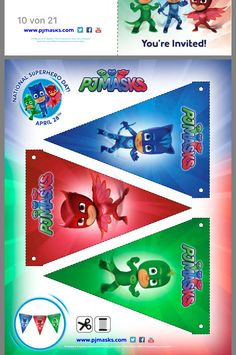 Pj Masks Pinata, Festa Pj Masks, 6th Birthday Boys, 1st Birthday Party Themes, Pjmask Party, Baby Party, Pj Mask Decorations, Kids Fathers Day Gifts, Printable Birthday Banner