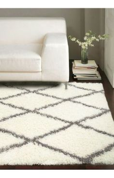 Rugs USA Moroccan Diamond Shag Rug -- for rec room (with grey couch and aviator chair)