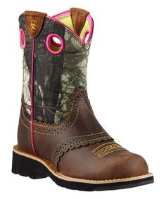 Loving this Brown Mossy Oak Break-Up Leather Cowboy Boot on #zulily! #zulilyfinds