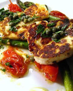 Haloumi and asparagus