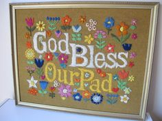 70s Vintage God Bless Our Pad Needlepoint Embroidery Crewel Yarn Finished Framed   eBay