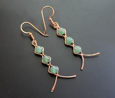 Zigzag Copper Aventurine Earrings