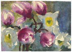 Emil Nolde - MAGNOLIEN-BLÜTEN, Watercolour on thin Japan paper