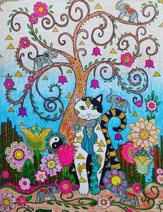 Creative Cats - Creative Haven Cat Coloring Page, Coloring Book Art, Animal Coloring Pages, Adult Coloring, Wal Art, Happy Paintings, Cat Cards, Laurel Burch, Cute Animal Drawings